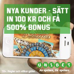 Få 500% bonus hos Unibet